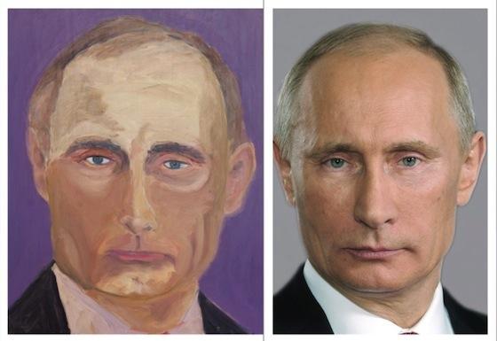 ※左がブッシュ元大統領が描いたロシア、プーチン大統領。
