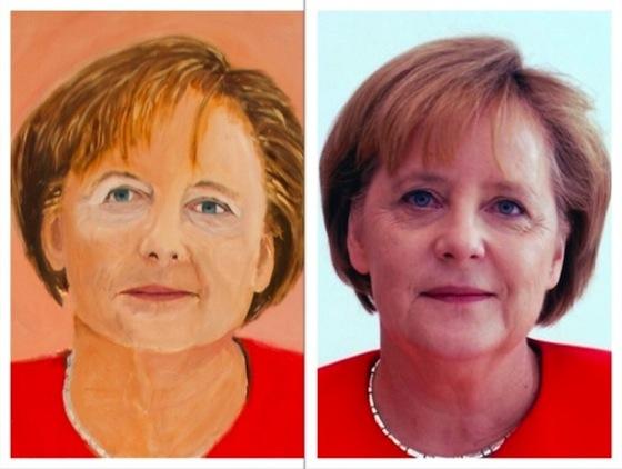 ※ドイツのメルケルさん。こちらも目の左右に違和感…。