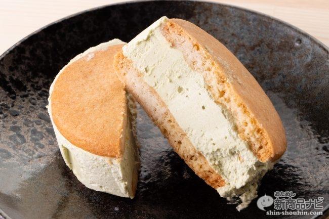 今度のウチカフェスイーツは限界厚のバタークリーム! 『サクバタ サクッとバターサンド ピスタチオ/ キャラメル』